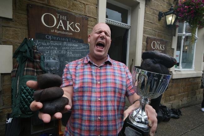 The World Black Pudding Throwing Championships 2017 winner Nick Pennell from Wolverhampton.