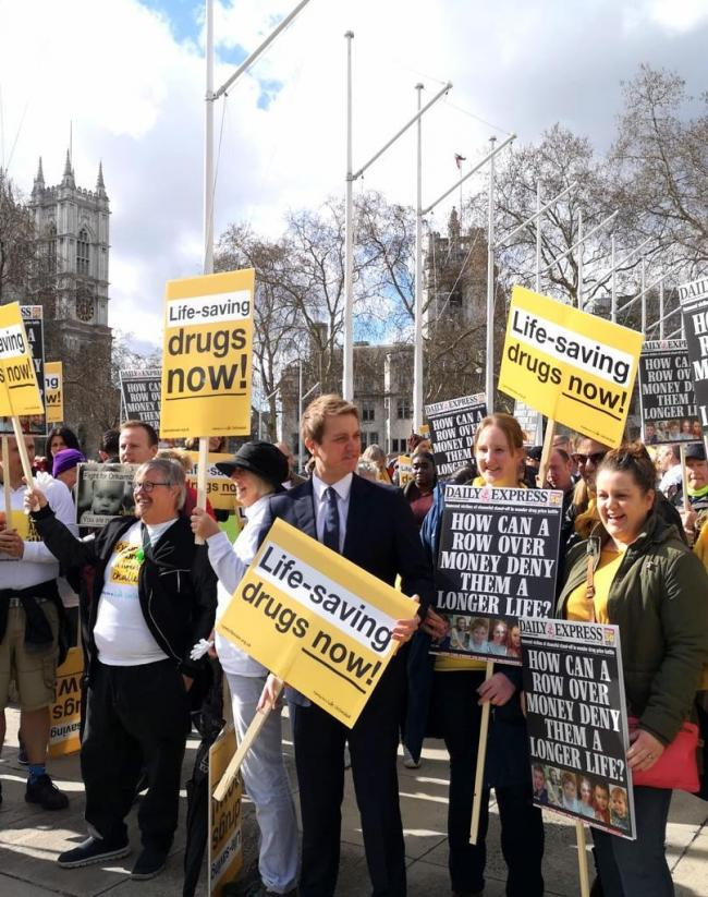 MP James Frith at the Cystic Fibrosis Trust protest outside Parliament in March 2019