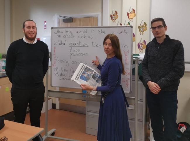 VISIT: Reporter Brad Marshall and intern Viktor Kayed with teacher Naomi Schrecker at Manchester Mesivta School