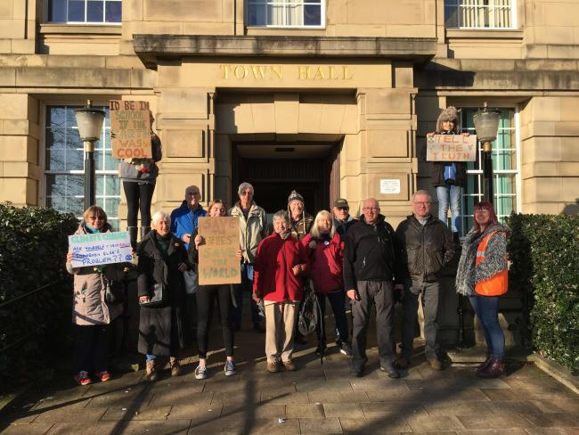 Youth Climate Strikers and other supporters outside Bury Town Hall