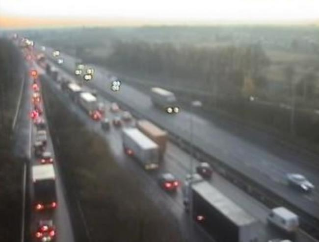 Queues on the M62 in Warrington