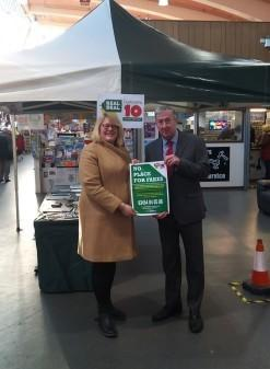 Bury Council's head of trading standards Angela Lomax and Bury markets manager Andrew Heyes