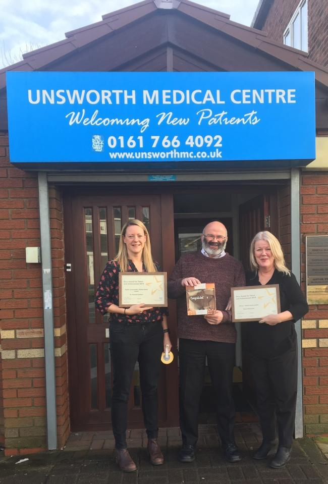 Dr. Hannah Lambert (GP, Unsworth Medical Centre), Dr. Jeff Schryer (Chair, NHS Bury Clinical Commissioning Group) and Paula McCrossan (Practice Manager, Unsworth Medical Centre).