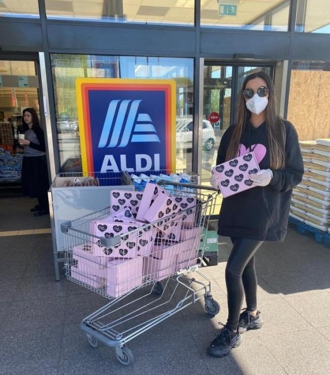 Samantha Allen, of Doll Beauty, dropping off self-care pamper packages at Aldi in Prestwich