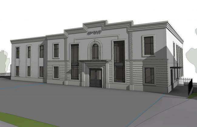 An artist's impression of the proposed new synagogue for a site in George Street, Prestwich
