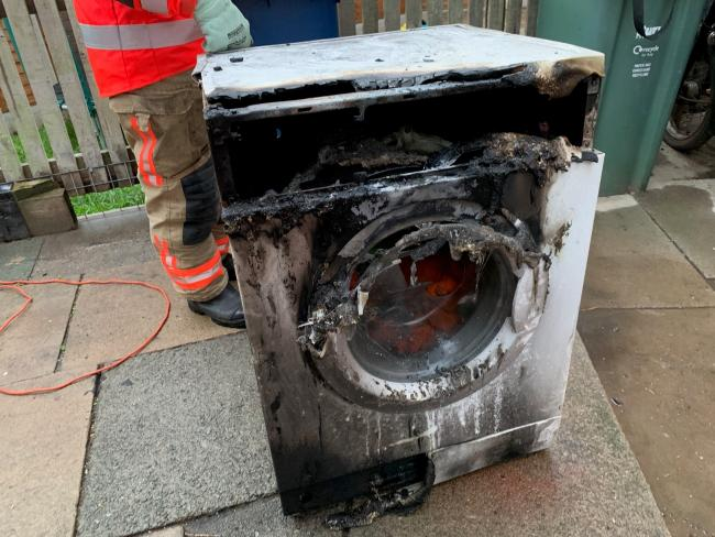The washing machine that caught fire in a house on Wren Drive in Bury