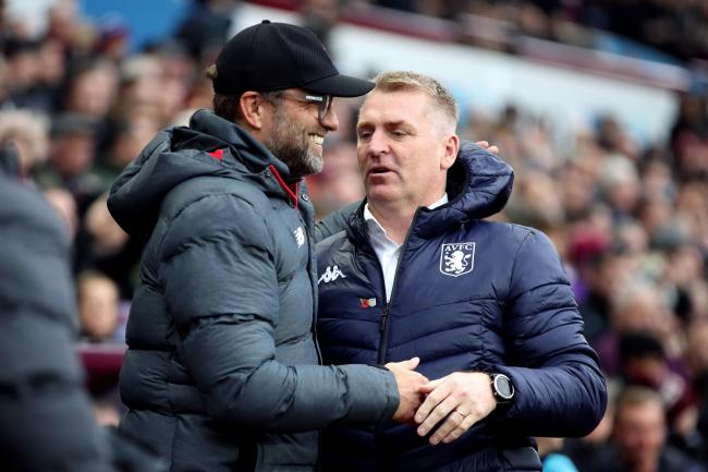 Jurgen Klopp, left, felt for Dean Smith after Aston Villa were on the wrong end of a VAR decision on Thursday