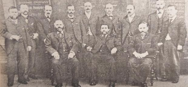 Prestwich and Whitefield Guide: The first councillors of Whitefield Urban District Council, outside the old council offices in Elms Street, in 1894.