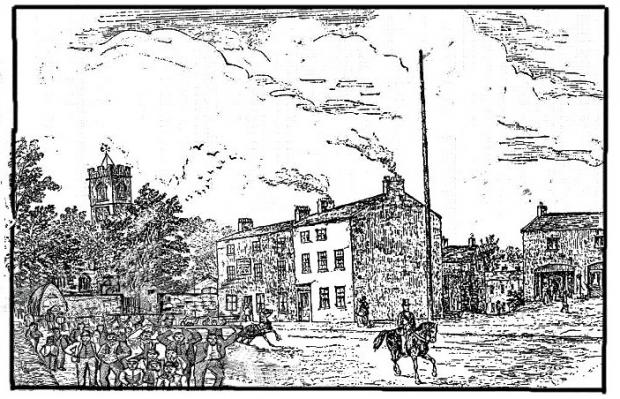 Prestwich and Whitefield Guide: A 19th century image of the Church Inn and Church Lane, Prestwich