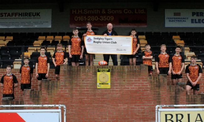 LINE-UP: Fundraisers from Sedgley Park Tigers Under 15s side