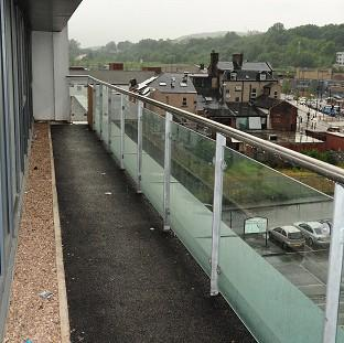 The view from a balcony in a block of flats on Willey Street, Sheffield, where a two-year-old girl died after falling from the fourth floor