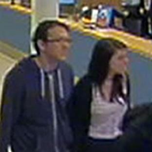CCTV footage issued by Sussex Police of missing teenager Megan Stammers and her maths teacher Jeremy Forrest