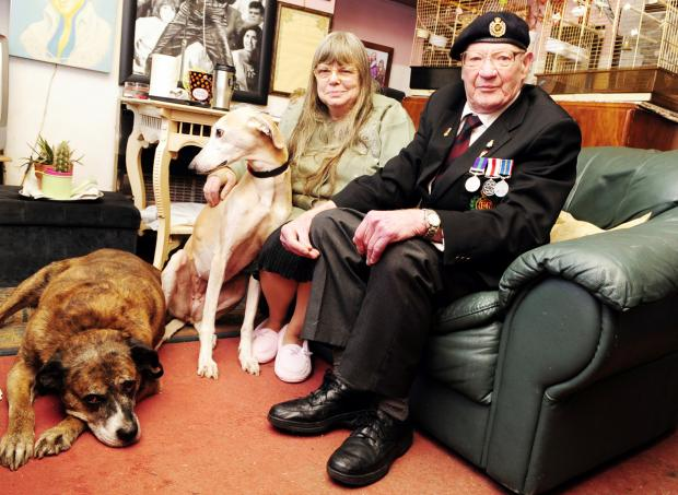 Prestwich and Whitefield Guide: Carole McLean and  William Bowerbank with their dogs, Taz, left and Sally