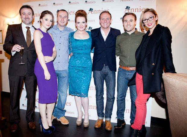 Prestwich and Whitefield Guide: Jennie McAlpine (centre) with Corrie pals Graham Hawley, Paula Lane, Andy Whyment, Antony Cotton, Alan Halsall and Lucy-Jo Hudson