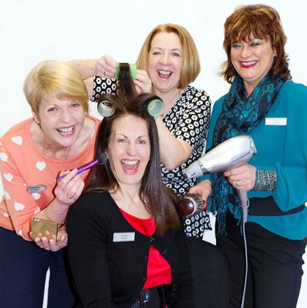 Getting ready for the show, from left, Lynda Nicholson, Andrea Nee, Eleanor Murdoch and Chrissie Jackson