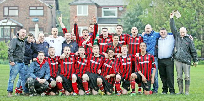 Prestwich FC celebrate winning the title