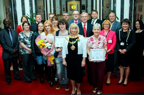 Bury's outgoing mayor, Cllr Sharon Briggs with the prizewinners and councillors at the Made in Bury presentation.  Andrew Taylor and Christine Taylor are to the right of Cllr Brig