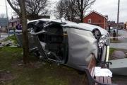 The overturned car in Radcliffe New Road, Whitefield
