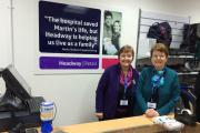 Headway shop manager Gail Pullen, aged 60, of Salford, with sister and headway volunteer Lynn Pullen, aged 66, of  Whitefield