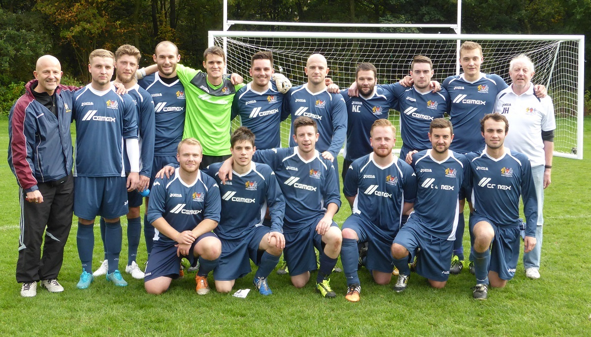 The Prestwich FC squad, back row from left, manager Mike Kosub, Conor Hart, Steve Murty, Adam Rhoden, Mike Hudson, Dave Thompson, Richard Steadman, Kieran Komisky, Sean Haslam, Sam Holden and chairman John Haslam, front, Mark Broderick, David Prieto, assi