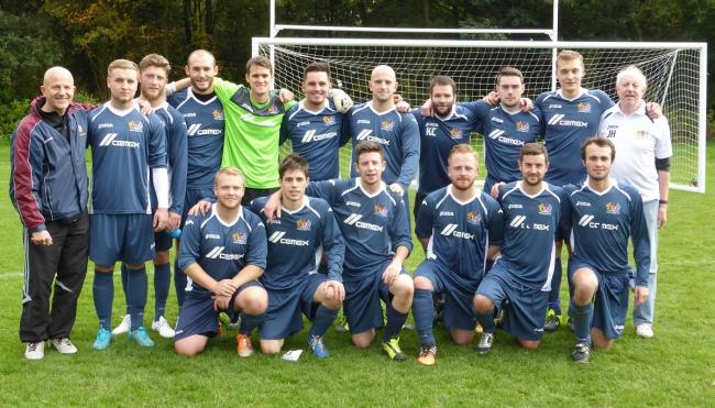 Prestwich FC, back row from left, Mike Kosub, manager, Conor Hart, Steve Murty, Adam Rhoden, Mike Hudson, Dave Thompson, Richard Steadman, Kieran Komisky, Sean Haslam, Sam Holden, John Haslam, chairman, front, Mark Broderick, David Prieto, Chris Hopkins (