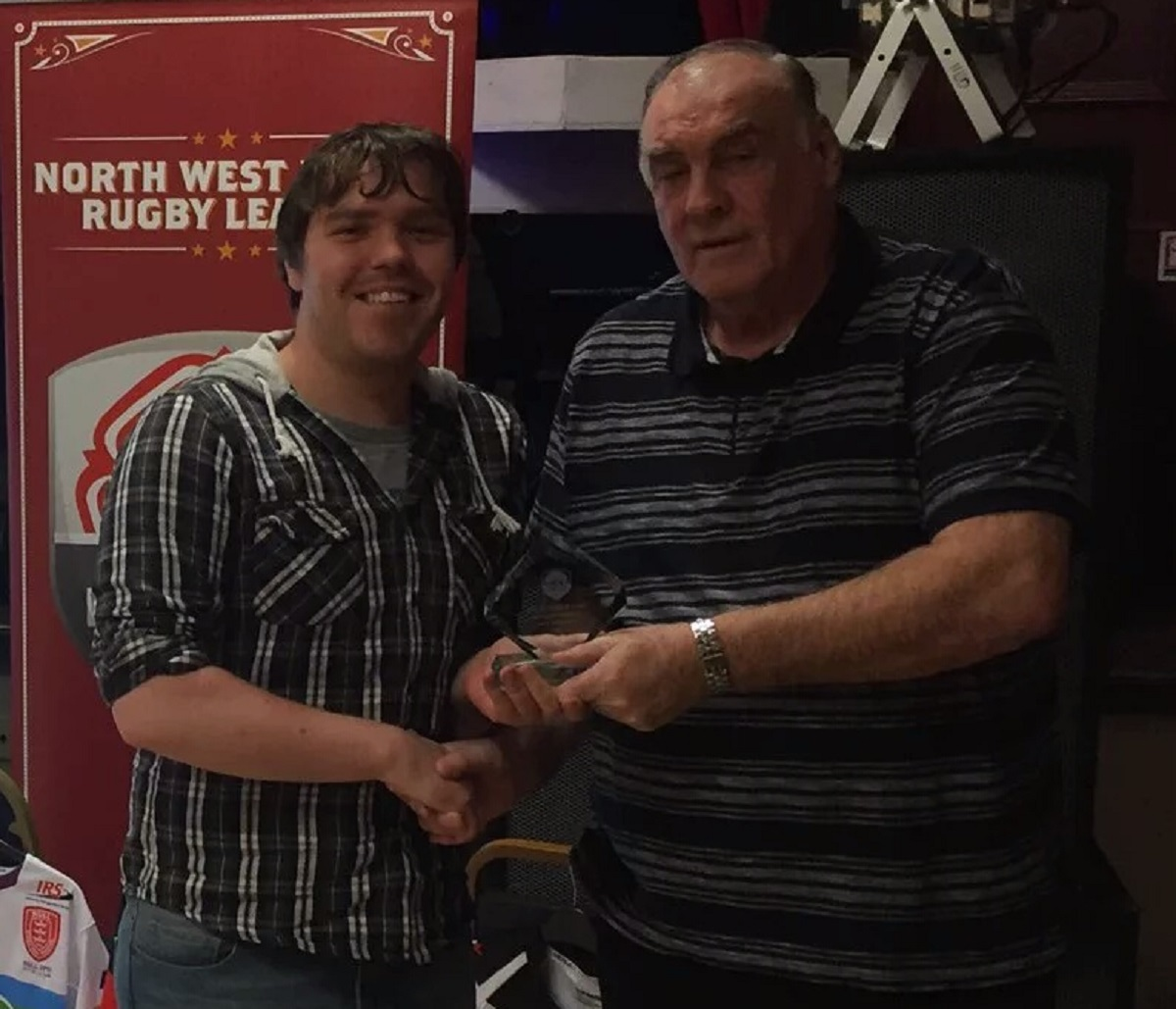 Bury Broncos chairman Ryan Lewis, left, receives the Steve Prescott Award at the North West Men's League dinner on behalf of the club (57460969)