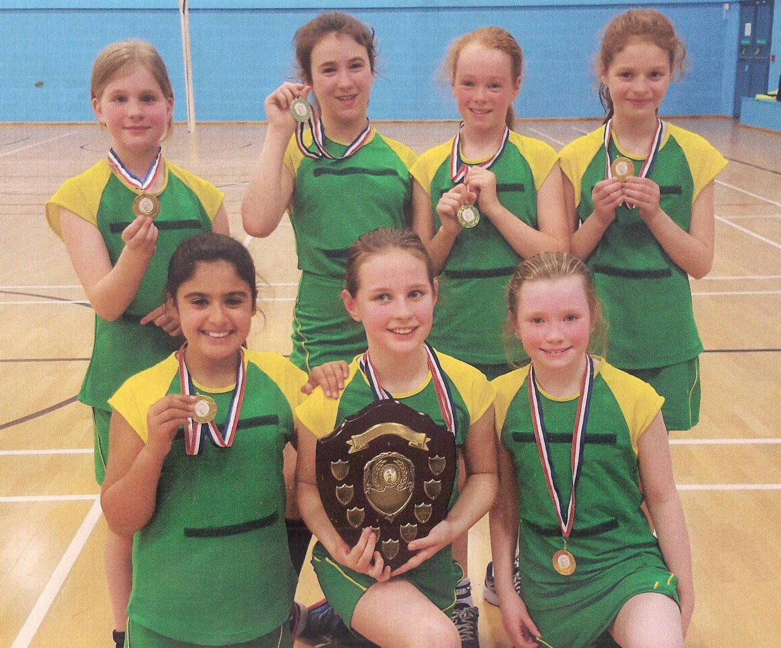 Our Lady of Grace's title-winning netball team, back from left, Anna Lepki, Eva Cabuderra, Holly Hamnett and Olivia Pickstock, front, Llani Butt, Niamh Corcoran and Daisy Hunt