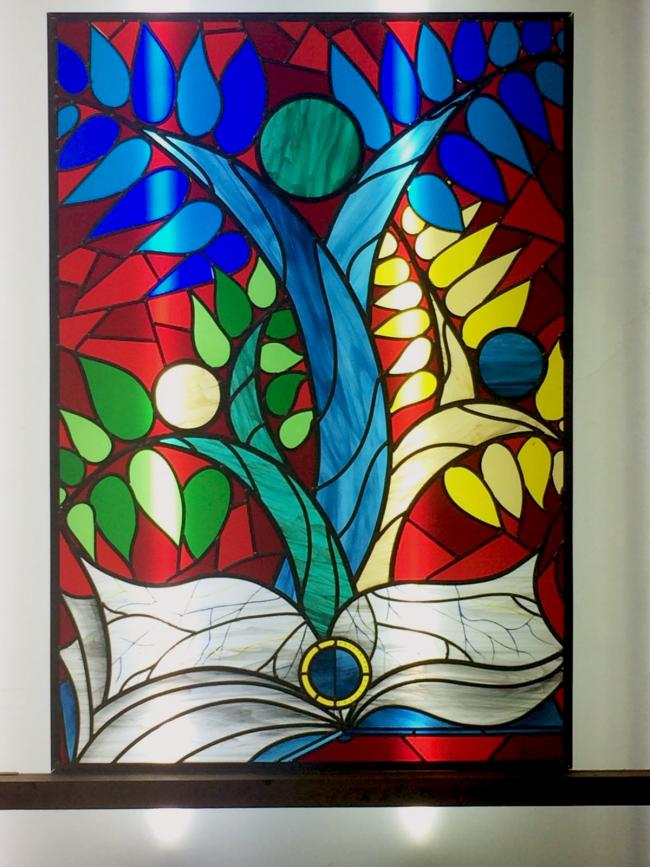 The new stained glass window at Prestwich Arts College