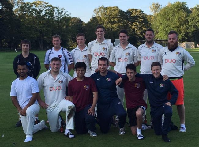 Prestwich second team, back row from left, Michael Heaver (scorer), Nick Carter, Nathan Bailey, Tom Kelly, Adam Taylor, Oli Holt and Ste Ritchie, front, Haris Aziz, Lewis Smith, Aaryaman Roy, Peter Lorenzini, Jack Doyle and Dan Ahern
