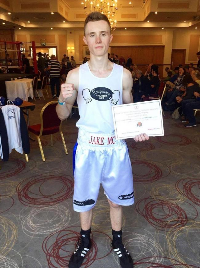 Jake McMorine after claiming the North West novices title at the Last Drop Village in Bolton