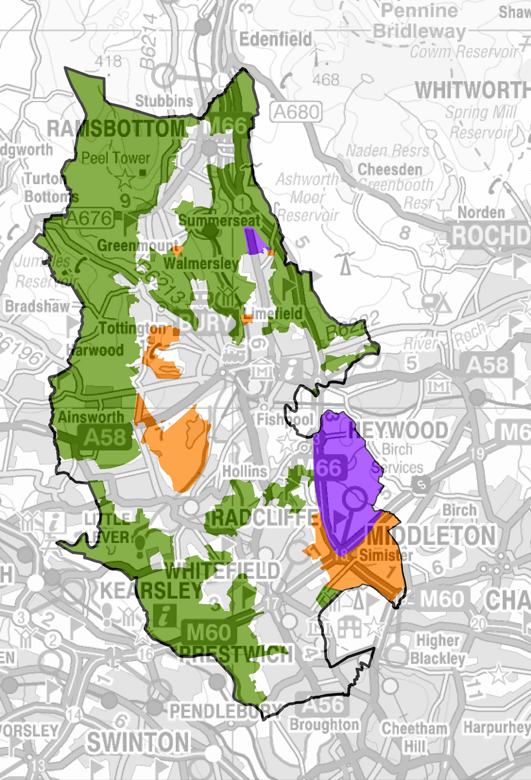 Proposed strategic site allocations for the Greater Manchester Spatial Framework.