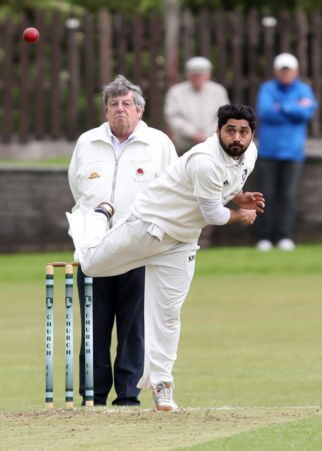 IMPACT PLAYER: Zain Abbas, pictured playing for Church in the Lancashire League, took four wickets as sub pro for Prestwich