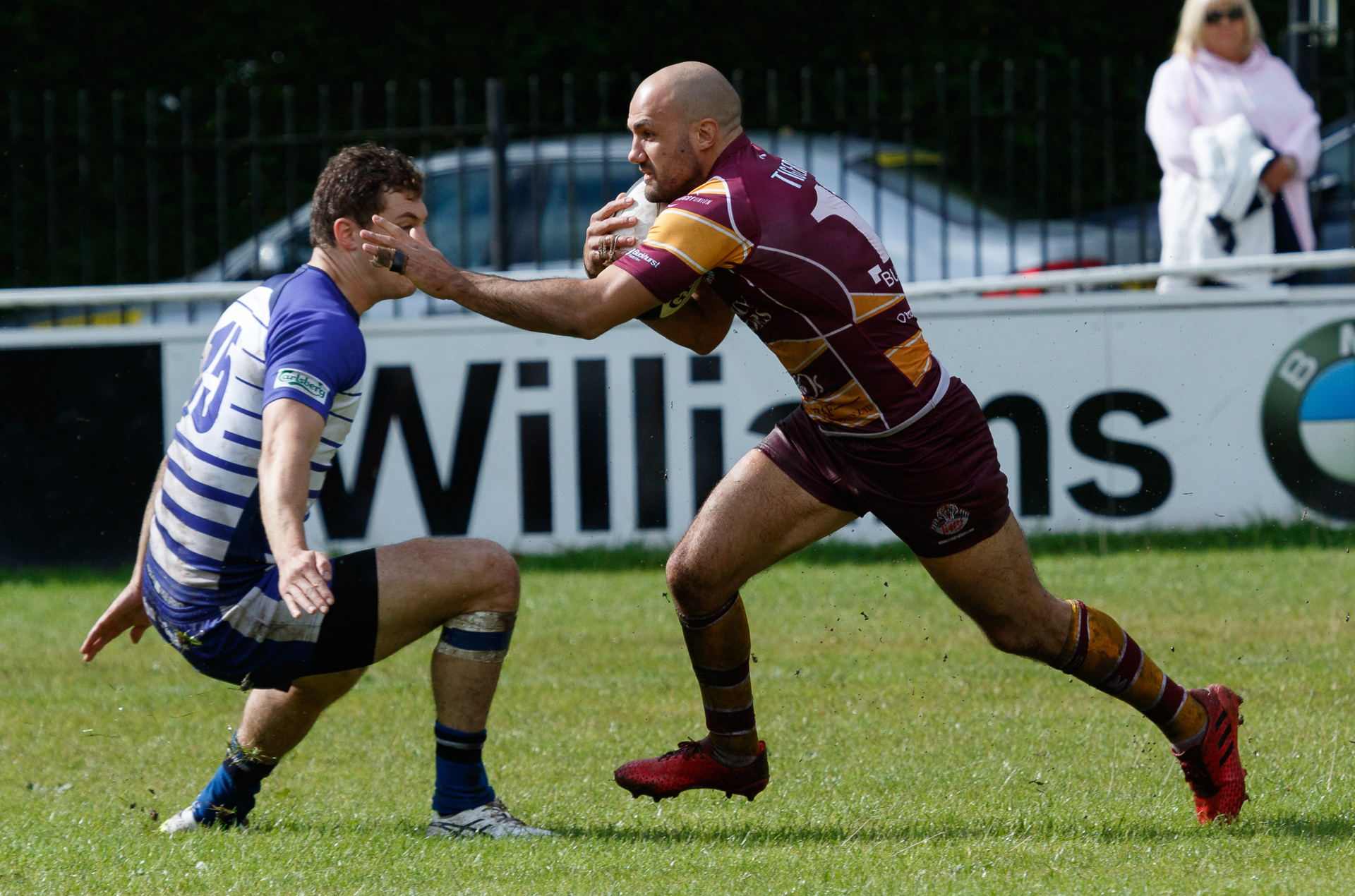 CONSOLATION: Rob Holloway, right, scored a late try for Sedgley Park in their defeat at Tynedale that secured a bonus point