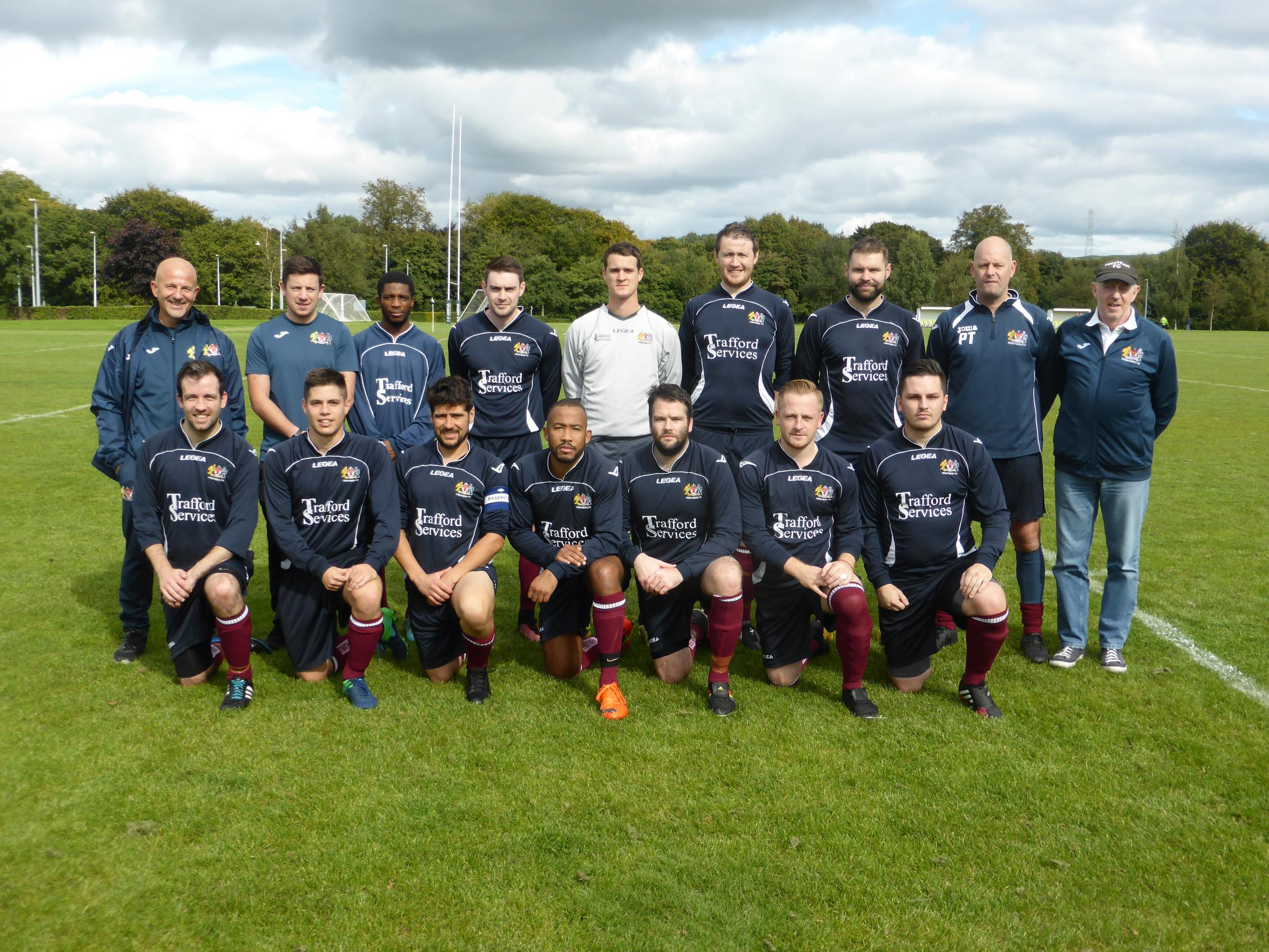 The Prestwich team, back row, from left, manager Mike Kosub, assistant manager Chris Hopkins, Tito Miguel, Sean Haslam, Mike Hudson, Luke Harling, John Robertson, Paul Taylor, chairman John Haslam, front, Chris Adams, David Prieto, Darren Buckley, Aldair