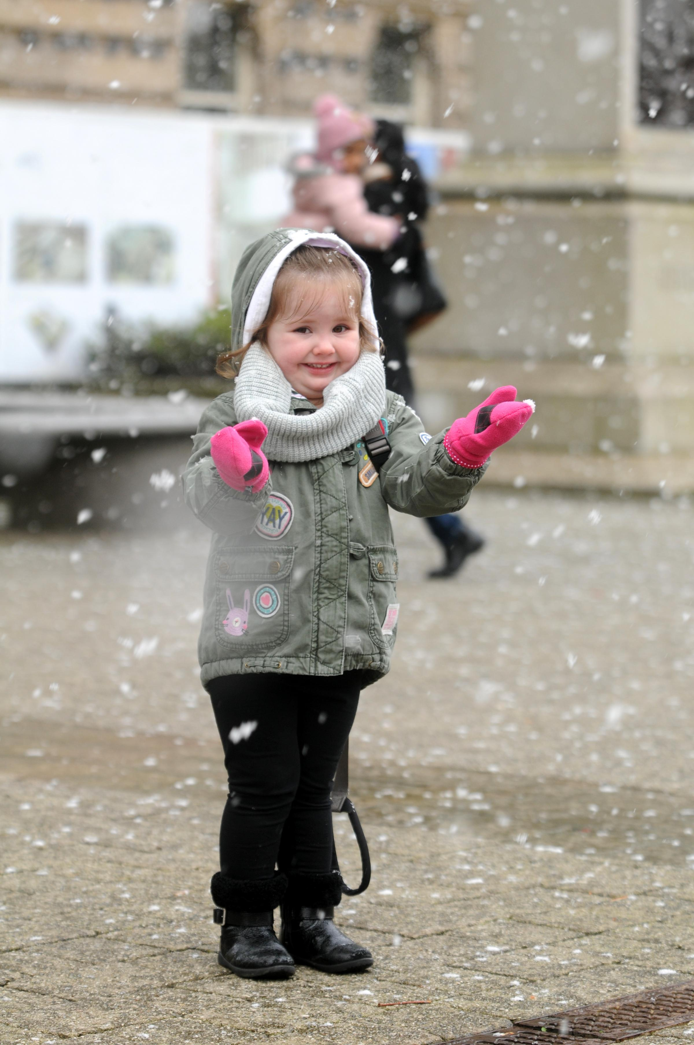 HAPPY: Savannah Mills, two, enjoying the snow in February 2016