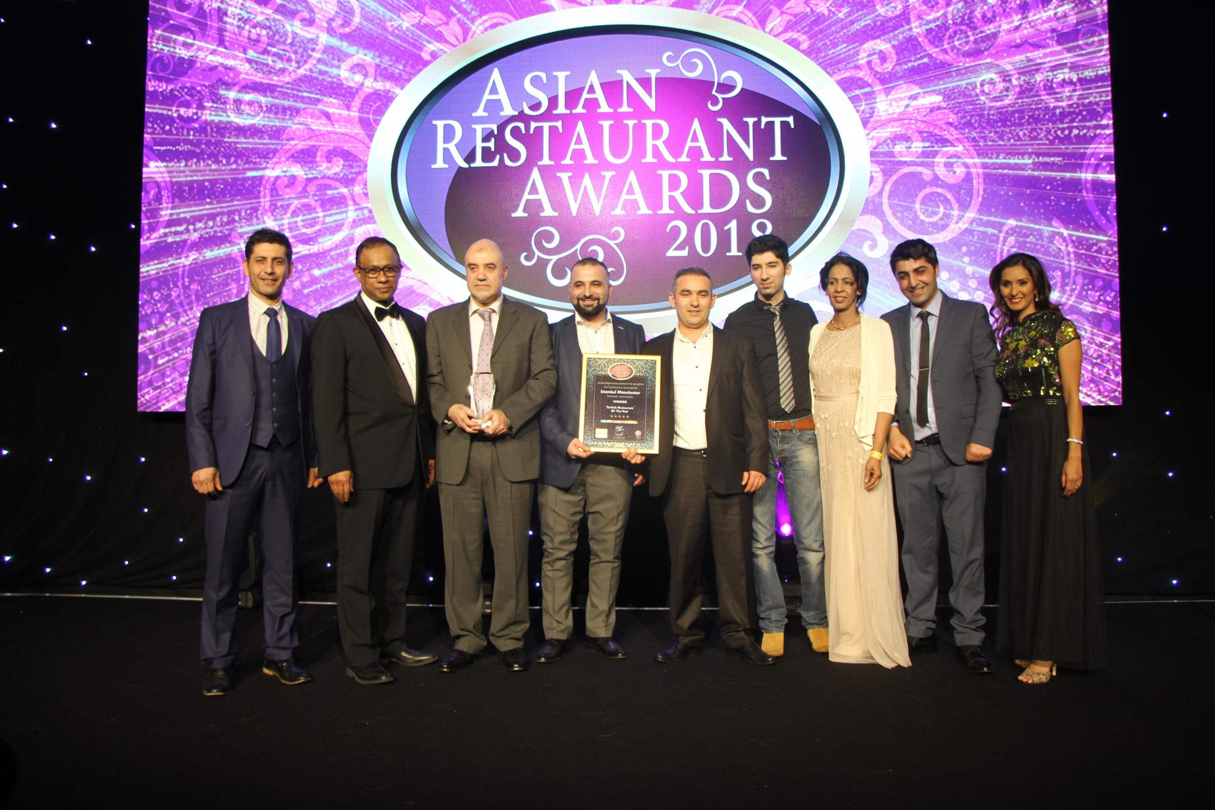 The Istanbul Grill team win Best Turkish at the Asian Restaurant Awards 2018
