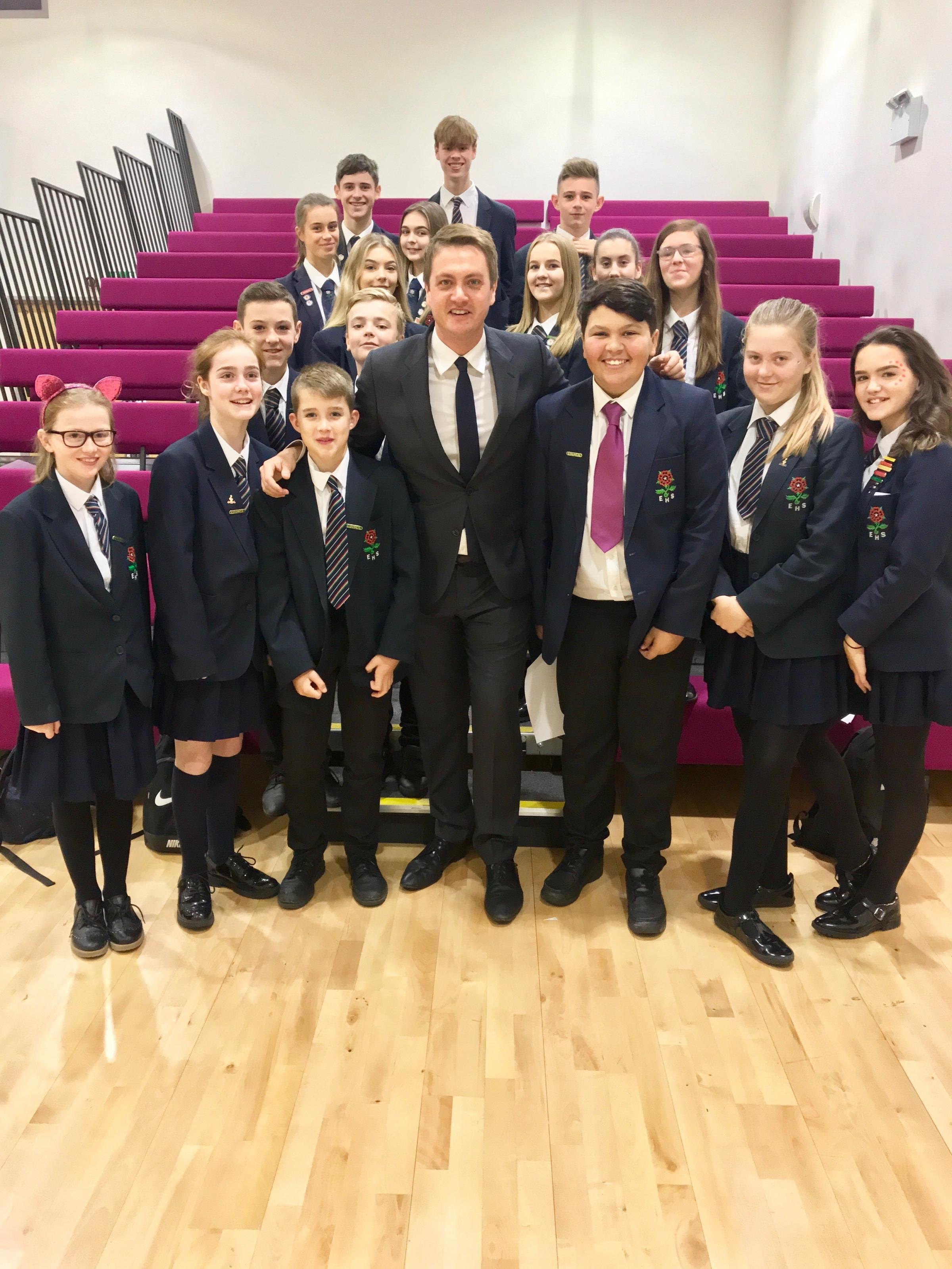 FUNDING: James Frith meets Elton High School pupils