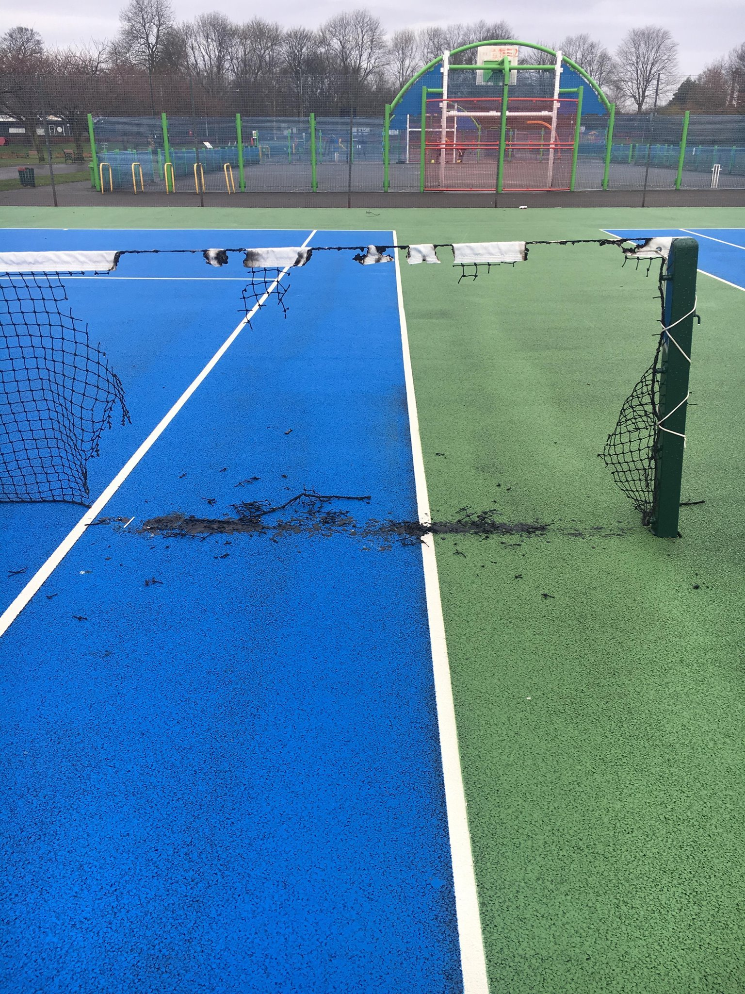 VANDALISM: The sports net at St Mary's Park was broken