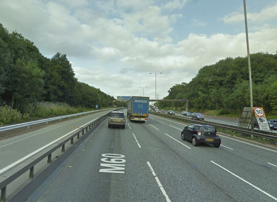 BREAKDOWN: One lane was closed on the M60 between Junctions 15 and 17. Picture, Google Maps