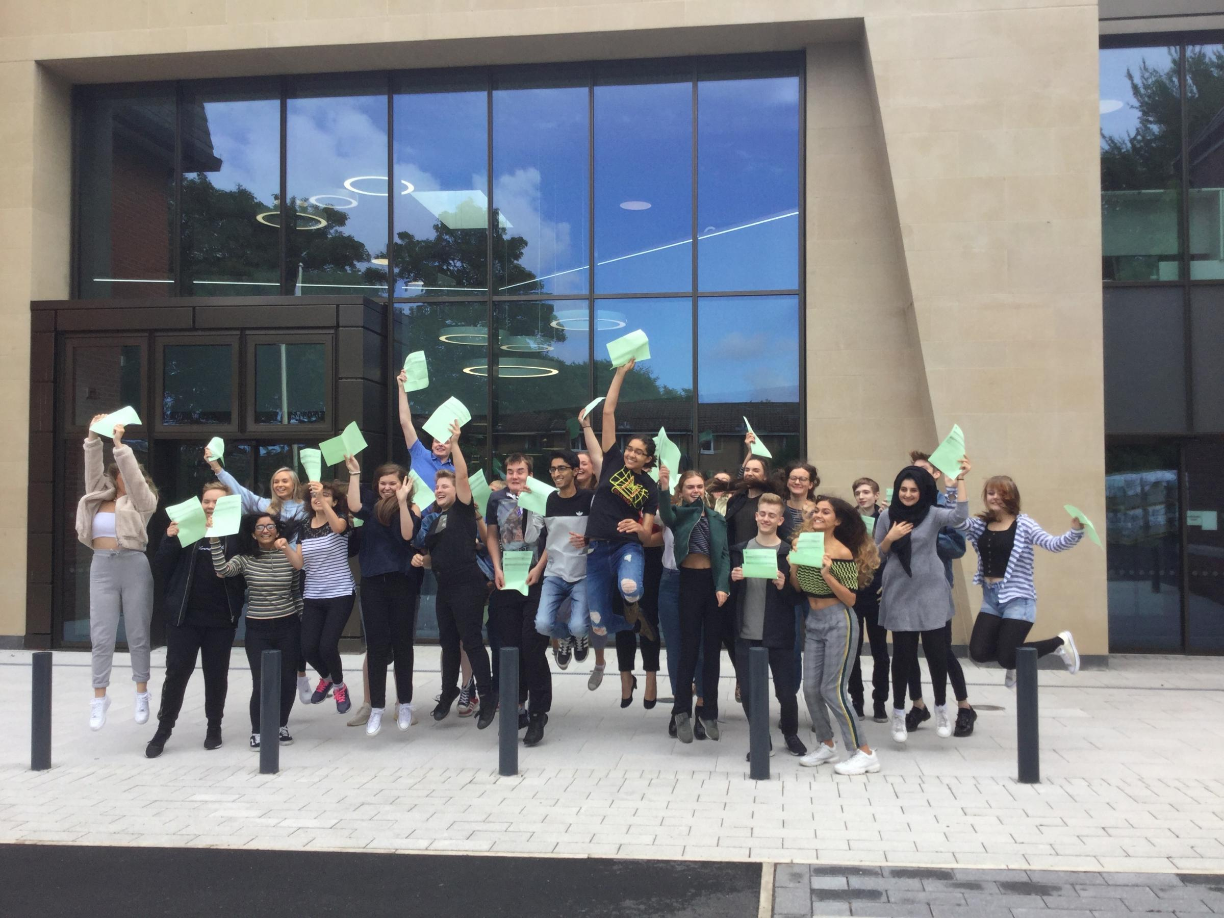 Holy Cross College students jump for joy with A Level success
