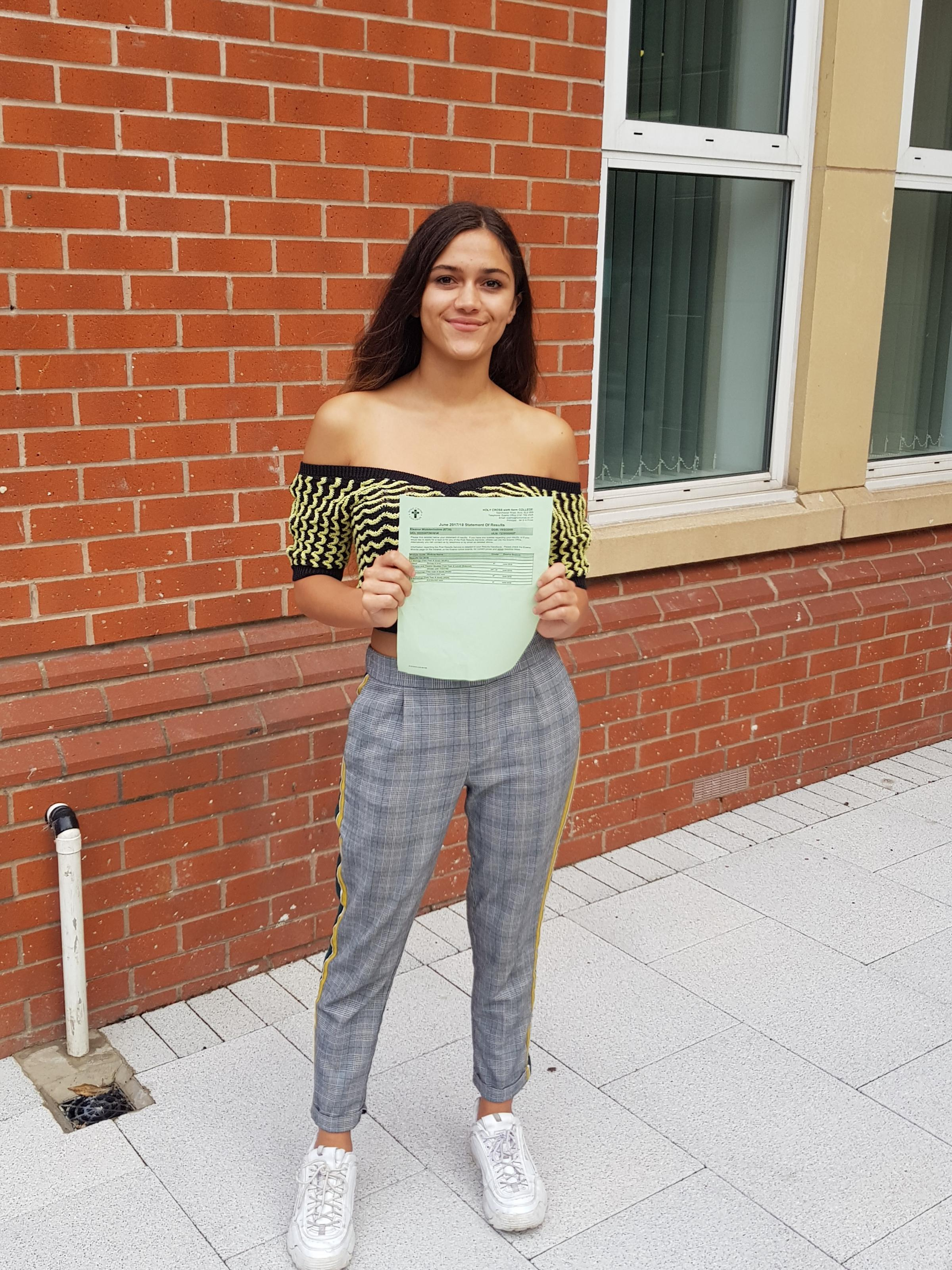 Holy Cross student Eleanor Wolstenholme, from Prestwich, achieved four A* grades in her A-level results