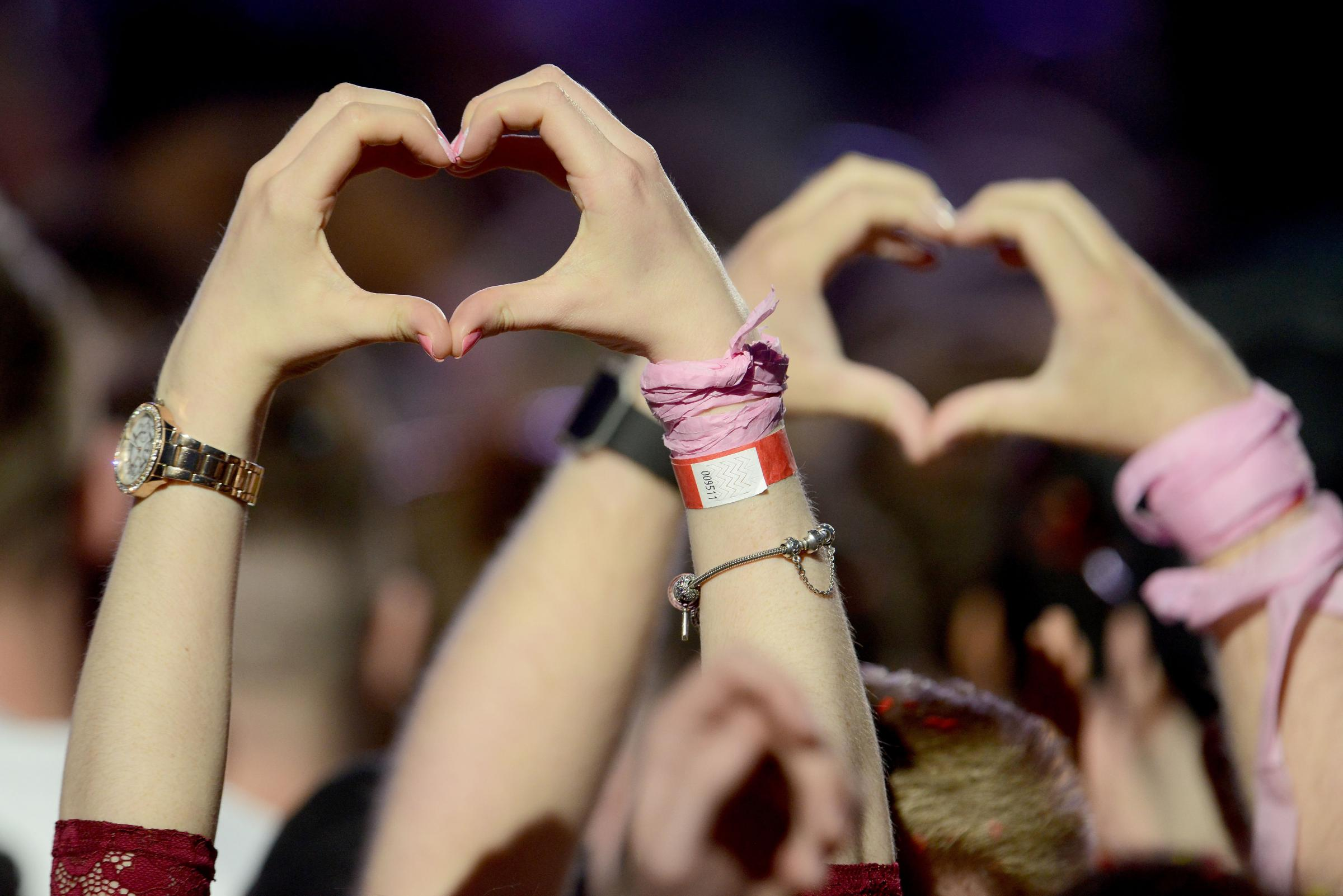 Hearts at the One Love Manchester concert organised by Ariana Grande in the aftermath of the attack. Picture: Dave Hogan for One Love Manchester/PA Wire