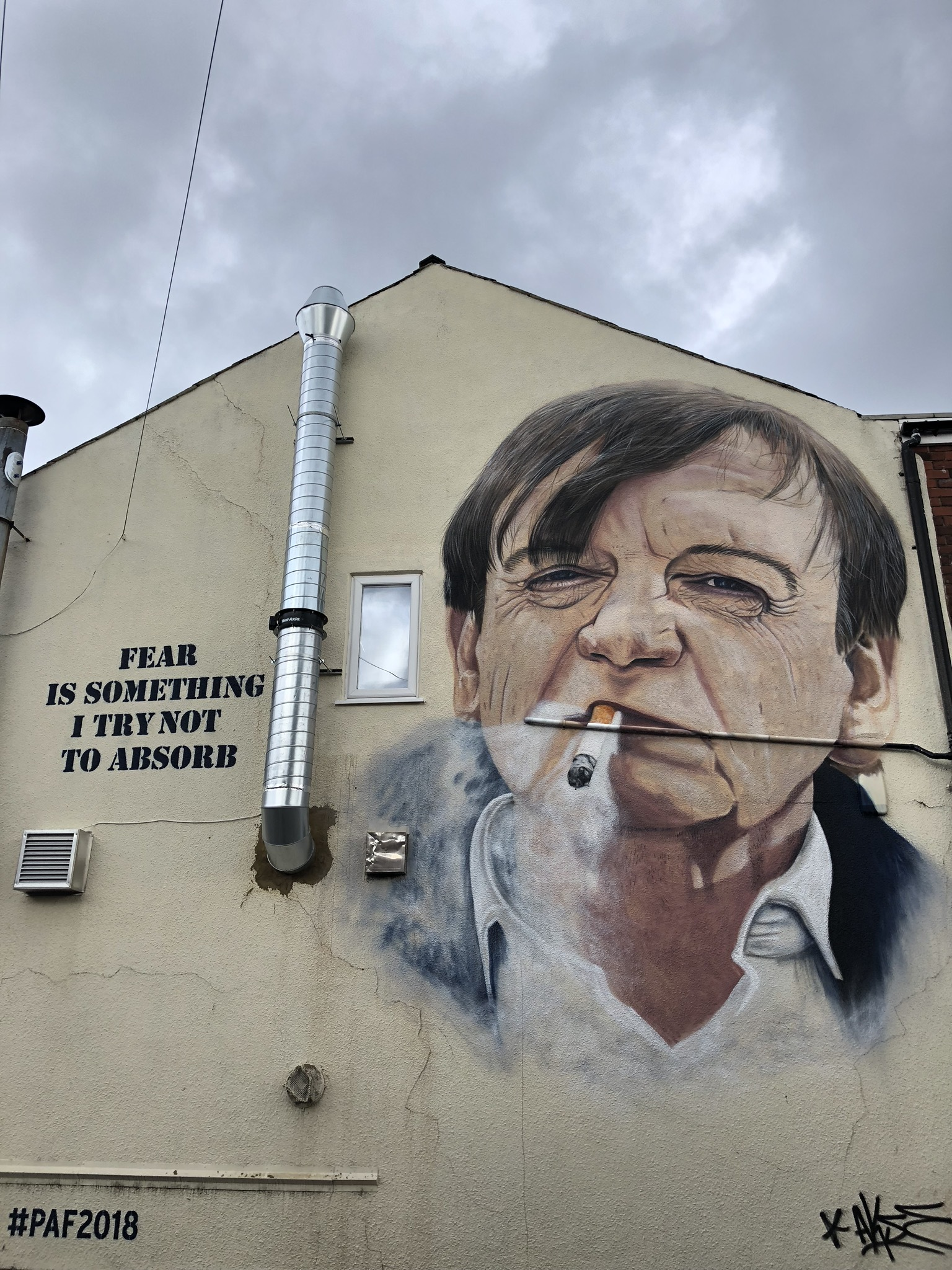 The Mark E Smith mural in Clifton Road, Prestwich