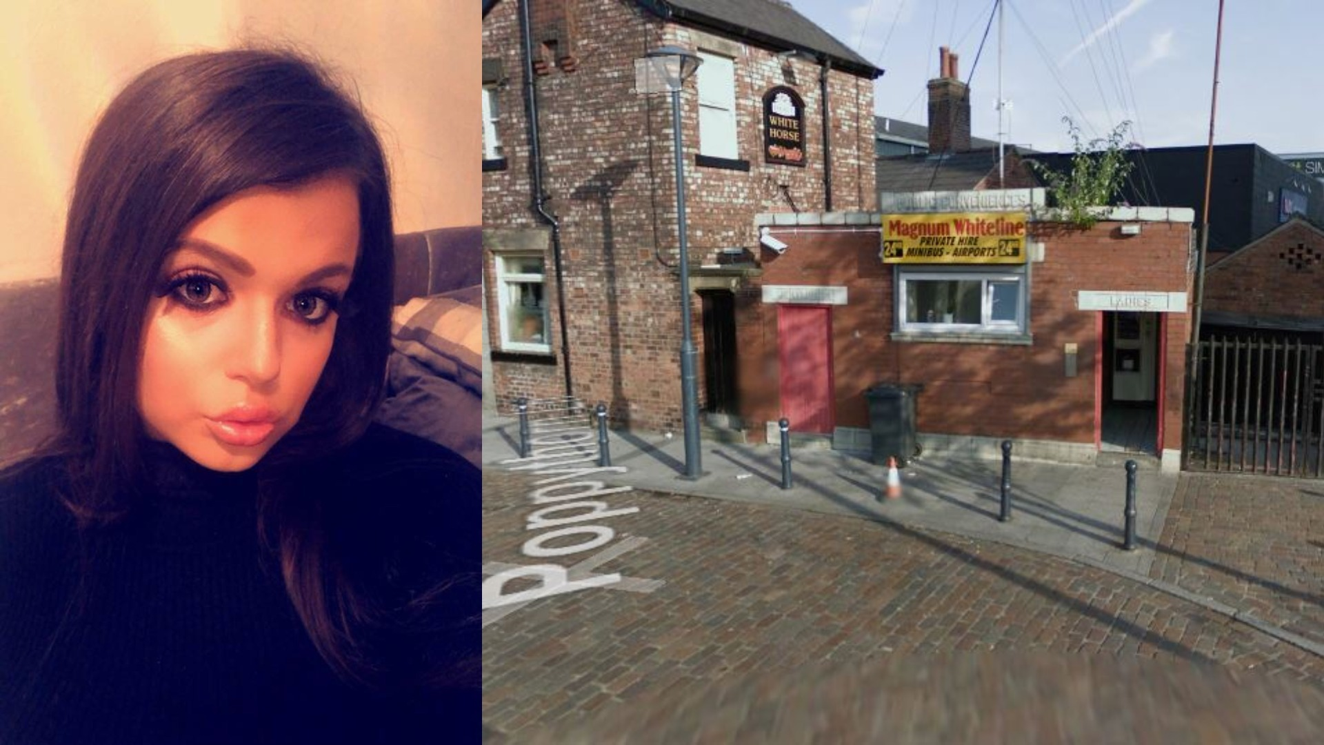 ATTACK: Left - Hollie Talbot. Right - The Magnum Whiteline taxi rank in Prestwich
