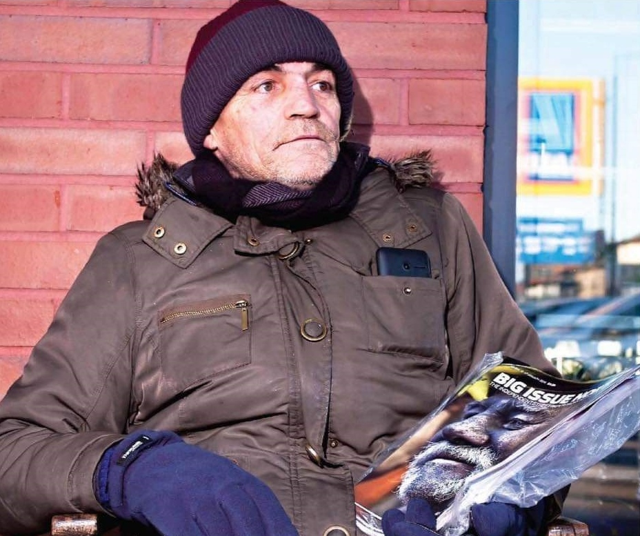 Allan has been selling The Big Issue outside Aldi in Prestwich for more than four years. Picture, John Hart