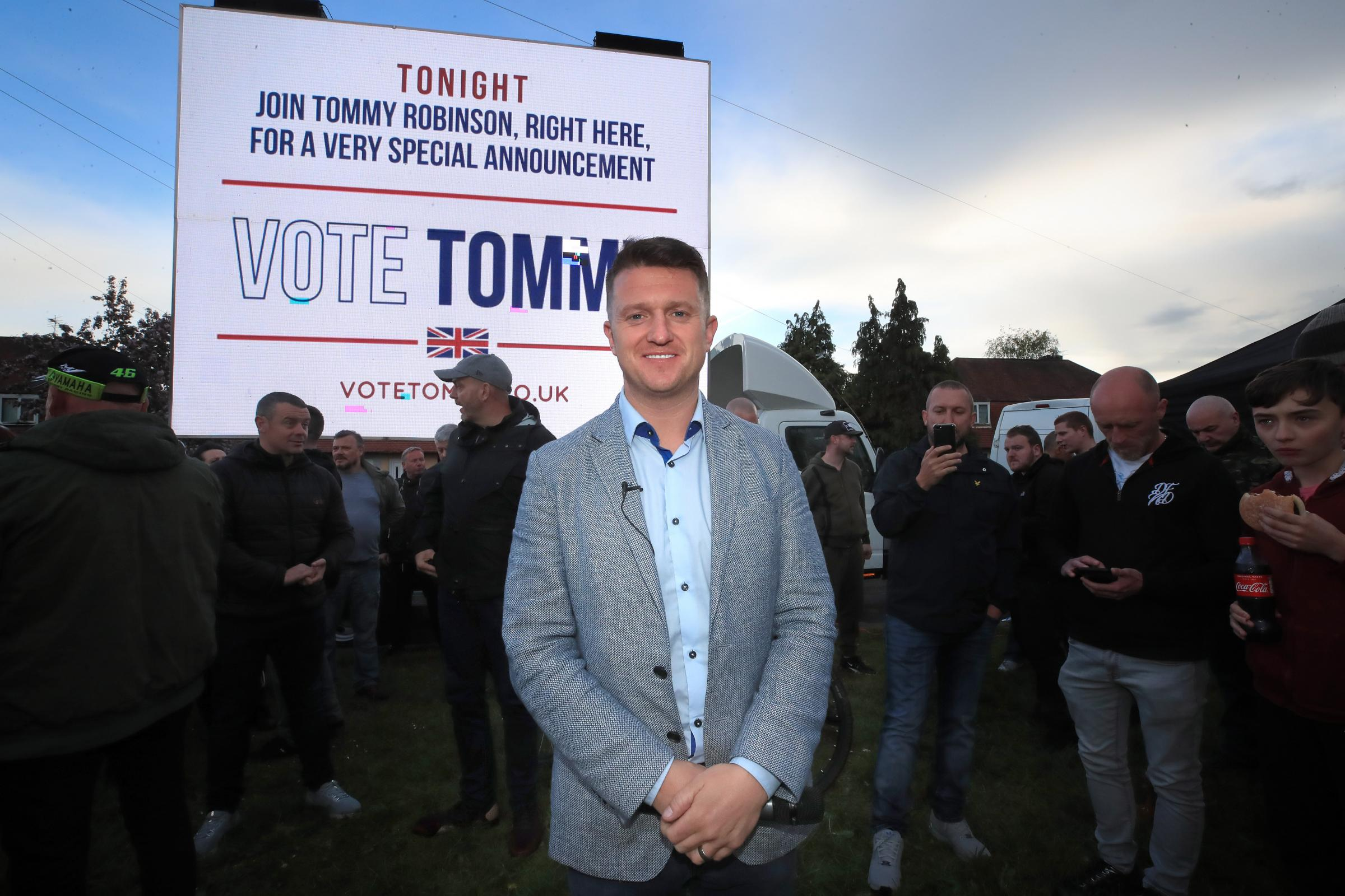 EUROPE: Former English Defence League leader Tommy Robinson at a rally in Manchester