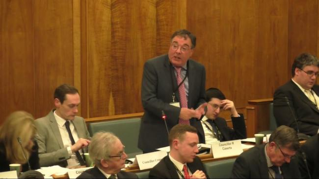 Conservative councillor Bob Caserta at a council meeting in January